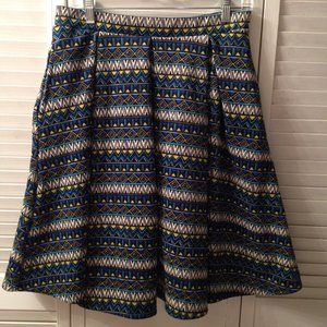 LuLaRoe M Stretchy Full Blue & Yellow Skirt